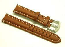 20mm Brown Leather Contrast Stitch Replacement Watch Strap Silver Buckle - Seiko