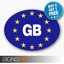 GB CAR STICKERS BLUE Oval Euro Car Van Lorry Vinyl Blue Self Adhesive EU sticker