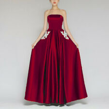 Women Bridesmaid Lace Solid Chiffon Prom Dresses Strapless Long Evening Gowns