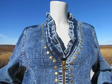 NEW M PYRAMID COLLECTION denim jacket steampunk brass studs acid washed coat wow