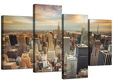Canvas Prints of New York Skyline for your Bedroom - Set of 4 - Manhattan
