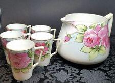 Vintage Handpainted Floral Art Nouveau Deco Nippon Set Pitcher with 5 Cups Mugs