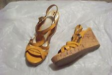 womens etienne aigner villa yellow strappy wedge heels shoes size 7