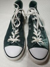 CONVERSE ALL STAR Junior Youth Green Velvet High Top Sneakers Shoes 658210F GUC