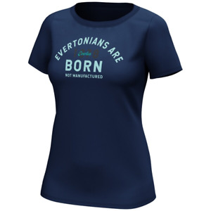 Everton Football T-Shirt Women's Born Not Manufactured T-Shirt - Navy - New