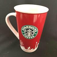 Starbucks 2006 Christmas Holiday Red White Tall Coffee Tee Mug Cup 16 oz