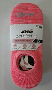 Avia Women's 6 Pack Comfort Fit No Show Liner Socks Shoe Size 4-10 NEW
