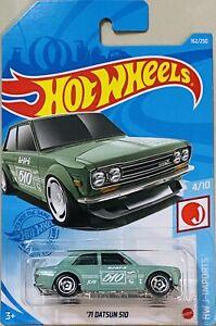 hot wheels '71 datsun 510 green 2021 H box New Release