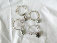 Set of 4 Wine Glass Ring Charms Teapot Coffee Pot Tea Cup & Eiffel Tower Theme