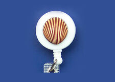 SEA SHELL Retractable Reel ID Card Badge Holder/Key Chain Security Ring