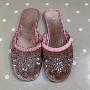 Monsoon Accessorize Pink Velvet Beaded & Embellished Mule Slippers. Sz 5