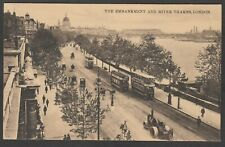 Postcard London trams and steam roller The Embankment and River Thames transport