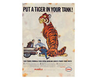 Vintage Esso Advertising Garage Sign Tiger Motor Shed Workshop Metal Petrol