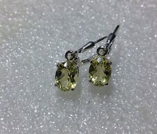 925 Sterling Silver Oval Cut Lemon Quartz VVS Dangle Leverback Earrings 2.45CTW