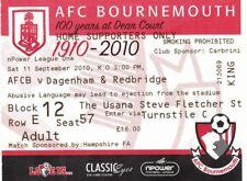 Ticket - Bournemouth v Dagenham & Redbridge 11.09.10