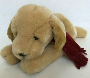 "Russ ""Amber"" Dog Plush Golden Retriever Puppy Stuffed Animal Red Scarf 12"""