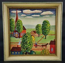 """Albert Kramer Folk Art Gouache on Paper Rural Scene   7 x 7"""""""