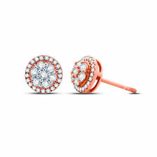 1/3 Ct Round Natural Diamond Stud Earrings In Solid 10k Rose Gold