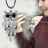 Long Sweater Chain Women Fashion Crystal Rhinestone Owl Pendant Necklace Gift