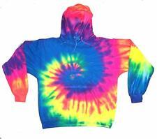 size LG RAINBOW SWIRLS TIE DYE HOODIE sweatshirt unisex tye dyed hippie style