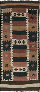 Vintage Etno Turkish Kilim Earth Shade Handwoven Wool Rug BB6513
