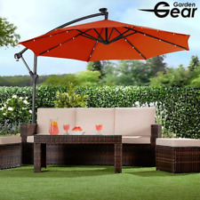 Garden Solar LED Parasol With Cover Terracotta