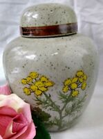 Vintage Ginger Jar TAKAHASHI Speckled Pottery w/ Lid Made in Japan Yellow Yarrow