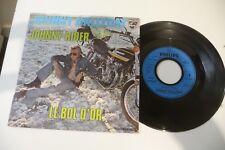 "JOHNNY HALLYDAY 45T JOHNNY RIDER/ LE BOL D'OR.  MOTO COVER KAWASAKI. 7"""