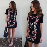 Women's Boho Floral Short Sleeve Summer Beach Loose Midi Dress Ladies Long Tops