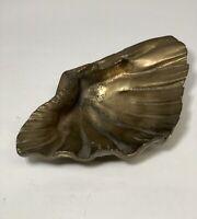 Vintage Brass Tridacna Clam Shell Bowl Catchall Ashtray