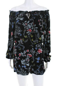 Parker Womens Floral Cloud Romper Black Size Extra Small 10809969