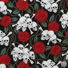 140101154 - Alexander Henry Skulls & Roses Black Cotton Fabric by the Yard Bones