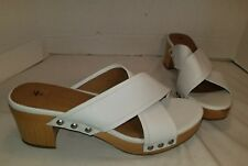 NWD FRYE FIONA WHITE LEATHER PLATFORM SLIDE CLOGS WOMEN'S SANDALS US 11
