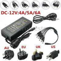 DC12V 4A/5A/6A Power Supply Adapter Splitter Cable For CCTV Camera DVR Strip