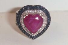 BIG! Niassa Ruby HEART Black Spinel Topaz Set Platinum Overlay WIDE Ring sz 5