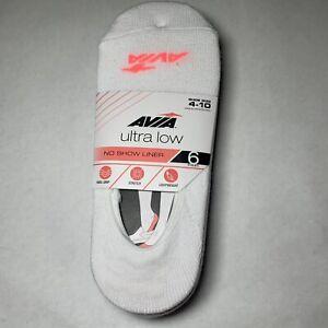 Avia Women's Ultra Low No Show Liner Socks Shoe Size 4-10 NEW (6 Pack) White