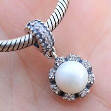 S925 sterling silver Sparkling Pearl Pendant Charm Dangle Clear CZ Fit Bracelet
