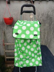 Einkaufstrolley Hackenporsche Einkaufsrolli Kaufwagen Ziehwagen grün gepunktet