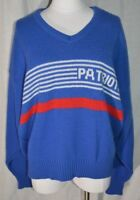 VTG New England Patriots Cliff Engle V-Neck Blue Sweater NFL XL 2XL No Size Tag