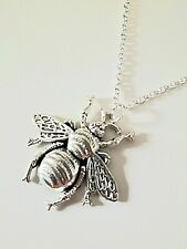 * NEW * Long Tibetan Silver BEE Pendant Necklace Lagenlook