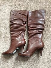 Brown Real Leather Slouch Boots - Size 4 - Barratts - RRP 149.99 - Brand New