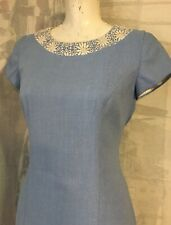 Charles et Figueiro blue dress Vintage classic stiff White Collar cocktail Small