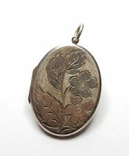 Vintage London 1974 925 Silver Daisy & Leaf Flower Oval Photo Locket 11.8g