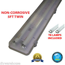 5FT TWIN 58 WATT NON CORROSIVE WEATHERPROOF FLUORESCENT LIGHT FITTING NEW