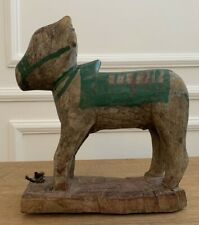 Antique Vintage Hand Carved Painted Wooden Original Holy Cow Nandi Figurine