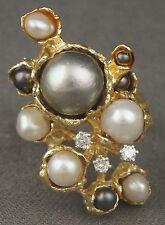 Retro Modernist Organic Freeform Solid 18K Gold, Pearl & Diamond Ring, 18.48g!