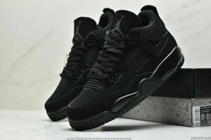 "Neuf Air Jordan 4 ""Black Cat"" Pure Black Unisex Chaussures de basket EUR 36-46"