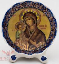 Porcelain gzhel decal plaque Icon Mother of God Theotokos Three-hand Троеручница