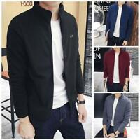 Men's Fleece Zipper Quilt Zip Up Soild Color Sweater Slim Fit Jacket