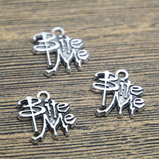 12pcs bite me Charms Antique Silver Plated bite me Charm pendant 17x17mm